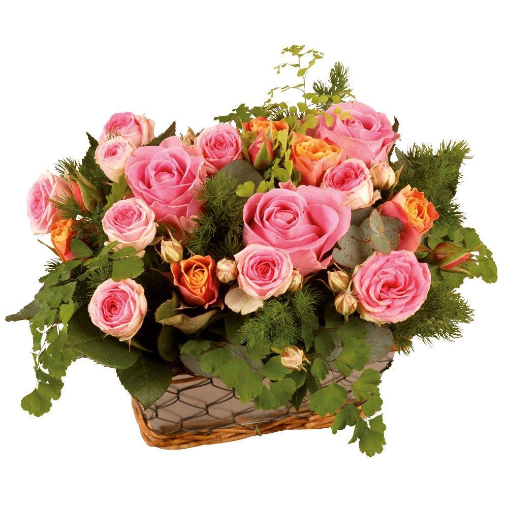 composition de roses roses et orange regard avec florajet. Black Bedroom Furniture Sets. Home Design Ideas