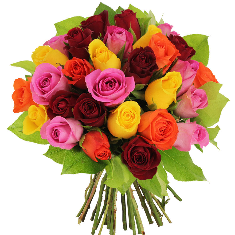 Bouquet 30 roses multicolores livraison express florajet for Bouquet de rose