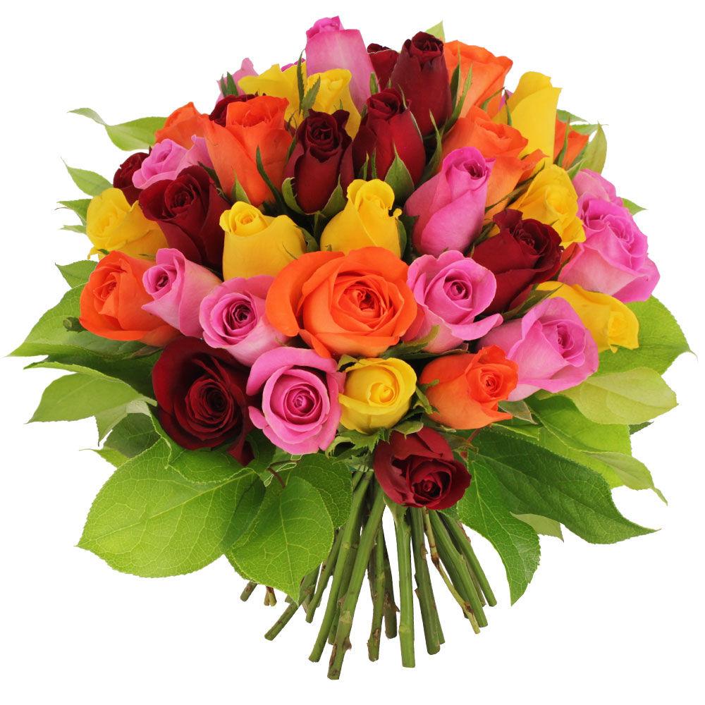 Bouquet de roses 40 roses multicolores livraison for Livraison rose
