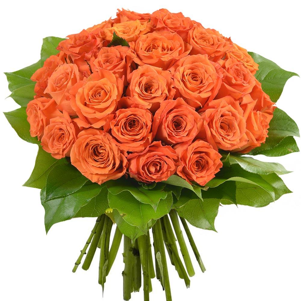Bouquet de 30 roses orange livraison en express florajet for Livraison rose