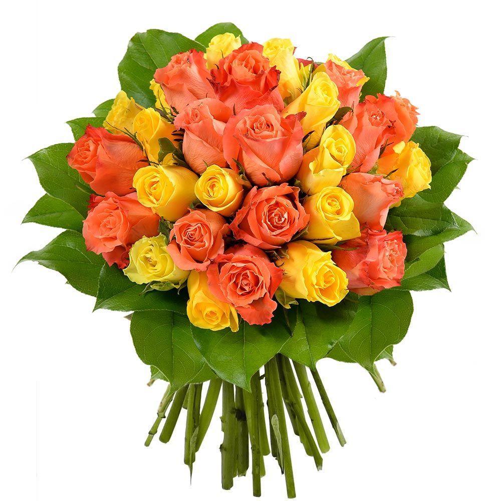 bouquet 30 roses jaunes et orange livraison en express. Black Bedroom Furniture Sets. Home Design Ideas