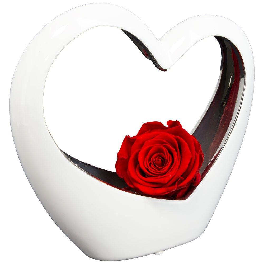 bouquet de roses coeur blanc en ceramique et sa rose rouge livraison express florajet. Black Bedroom Furniture Sets. Home Design Ideas