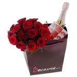 Livraison de fleurs : 15roses rouges+1/2lanson+napolitains+sac