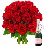 Livraison de fleurs : 20roses rouges+1/2 lanson