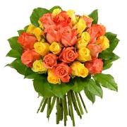 Bouquets de fleurs 30 roses jaunes et orange