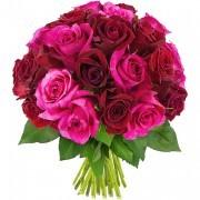 Bouquets de fleurs 30 roses fuchsias et rouges