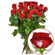 Bouquets de fleurs 23 + 1 rose marquee bonne fete 60cm
