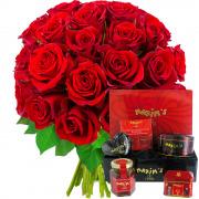 Plantes Vertes et fleuries 30 roses rouges + coffret farandole