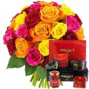 Plantes Vertes et fleuries 30 roses multicolores + coffret farandole