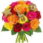 Bouquets de fleurs 20 roses multicolores + 3 pics or