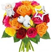 Bouquets de fleurs 20 roses multicolores + 3 pics blanc nacre