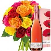 Plantes Vertes et fleuries 20 roses multicolores + champagne brimoncourt