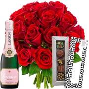 Plantes Vertes et fleuries 20 roses rouges + 1/2 lanson rose + etui 5 chocola