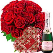 Plantes Vertes et fleuries 30 roses rouges + 1/2 lanson + coeur maxim's