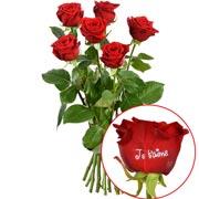 Bouquets de fleurs 5 + 1 rose marquee je taime 60cm