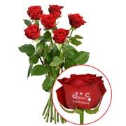 Bouquets de fleurs 5 + 1 rose marquee joyeux anniv 60cm