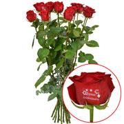 Bouquets de fleurs 11 + 1 rose marquee anniv 60cm