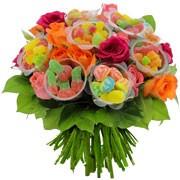 20 ROSES MULTICOLORES + 10 BONBONS VARIES - florajet
