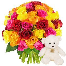 50 ROSES + OURSON 15CM
