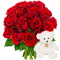 20 ROSES + OURSON 15CM