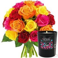 20 ROSES + BOUGIE-BIJOU LOVE