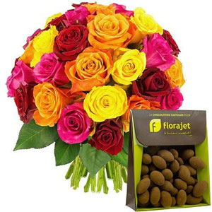 30 ROSES MULTICOLORES + AMANDES CACAOTEES