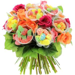 20 ROSES MULTICOLORES + 10 BONBONS VARIES