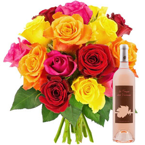 15 ROSES MIX + VIN ROSE