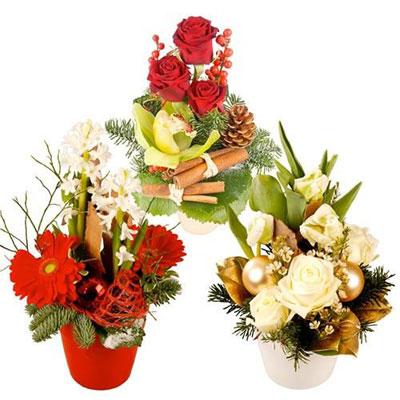 Livraison de la composition florale trio festif par for Composition florale exterieur hiver