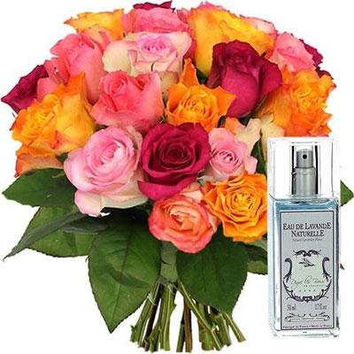 livraison de fleurs 20 roses multicolores spray lavande livraison france express. Black Bedroom Furniture Sets. Home Design Ideas