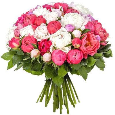 Livraison du bouquet de fleurs anniversaire 50 pivoines for Prix bouquet de fleurs