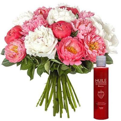 livraison de fleurs 15 pivoines huile de massage livraison france express. Black Bedroom Furniture Sets. Home Design Ideas