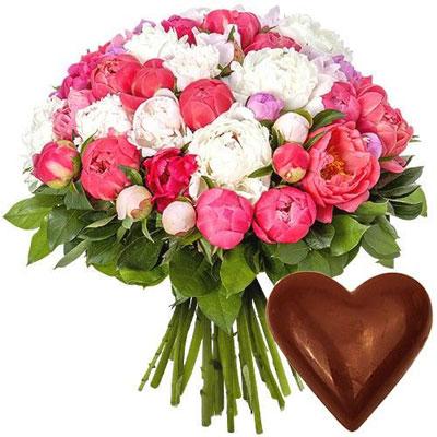 livraison de cadeau gourmand 50 pivoines coeur en chocolat par florajet livraison. Black Bedroom Furniture Sets. Home Design Ideas