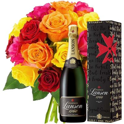20 ROSES + CHAMPAGNE LANSON BRUT 75CL