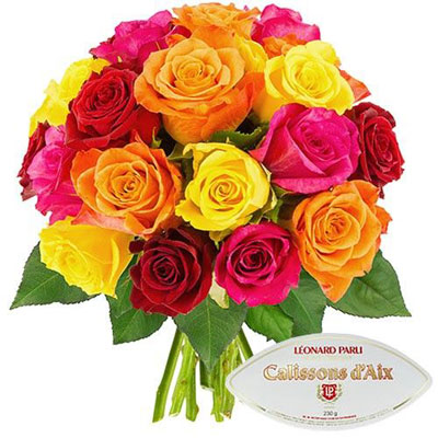 20 ROSES MULTICOLORES + CALISSONS