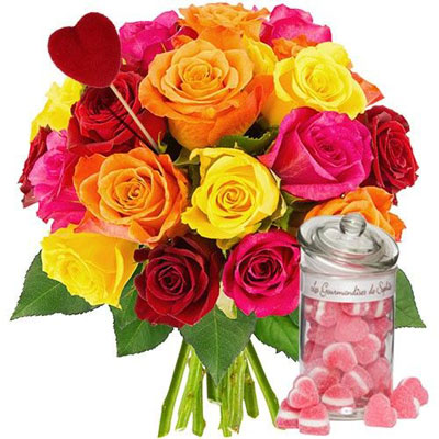 livraison de fleurs 20roses multi pique coeur bocal minicoeur livraison france express. Black Bedroom Furniture Sets. Home Design Ideas