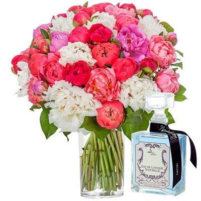 livraison de fleurs 40 pivoines eau lavande 200ml livraison france express. Black Bedroom Furniture Sets. Home Design Ideas