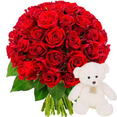 livraison de fleurs 50 roses rouges ourson blanc livraison france express. Black Bedroom Furniture Sets. Home Design Ideas