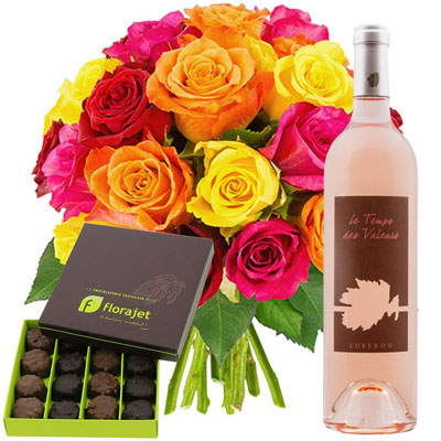 20 ROSES MULTICOLORES + ROCHERS + VIN ROSE