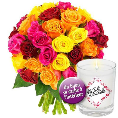 Livraison de fleurs 40 roses multicolores bougie bijou for Livraison de fleurs demain