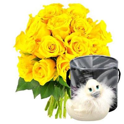 Livraison de fleurs 30 roses jaunes canard vibrant for Livraison de fleurs demain