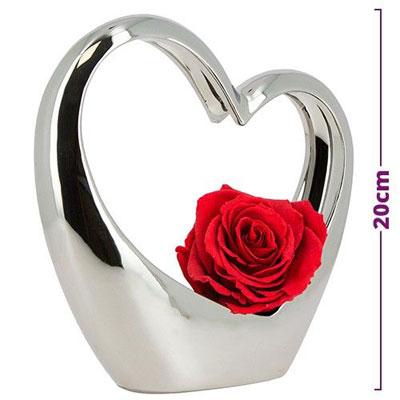 Livraison du bouquet de roses amour coeur argent en ceramique et sa rose rouge par florajet - Bouquet de roses en forme de coeur ...