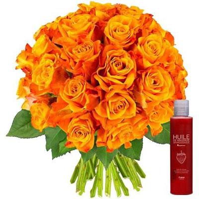 livraison de fleurs 30 roses orange huile de massage livraison france express. Black Bedroom Furniture Sets. Home Design Ideas