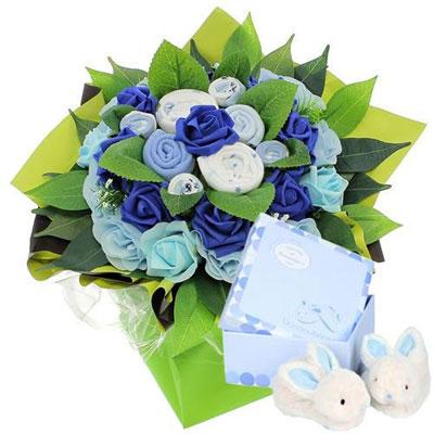 Livraison de fleurs bouquet naissance bleu coffret for Livraison de fleurs demain