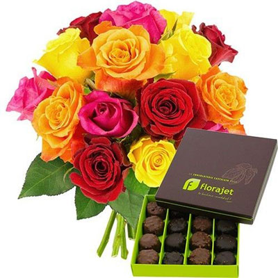 15 ROSES MULTICOLORES + ROCHERS