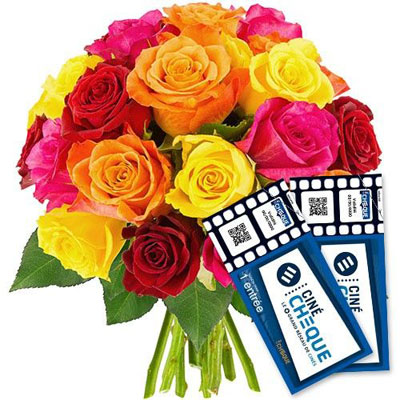 20 ROSES MULTICOLORES + 2 CINE CHEQUE