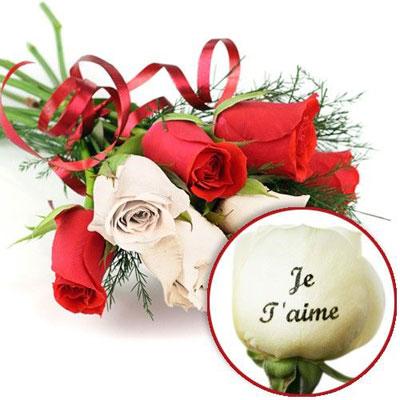 livraison du bouquet de roses amour roses marquees je t aime par florajet livraison. Black Bedroom Furniture Sets. Home Design Ideas