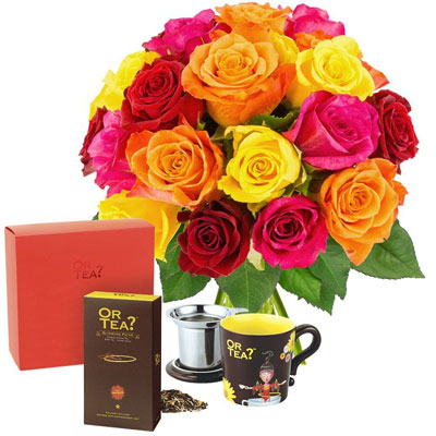 20 ROSES MULTICOLORES + PACK SPECIAL THE