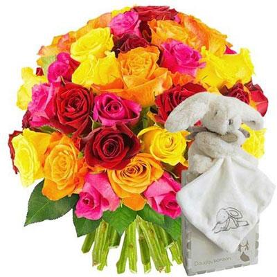 Livraison de fleurs 50 roses multicolores doudou lapin for Livraison de fleurs demain