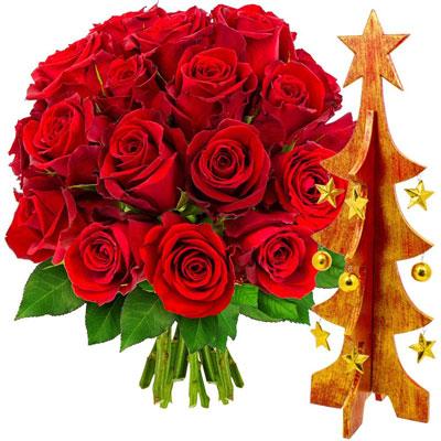 livraison de cadeau d co 20 roses rouges sapin or et rouge par florajet livraison. Black Bedroom Furniture Sets. Home Design Ideas
